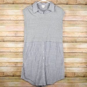 Anthropologie 9-H15 STCL M Gray Striped Tunic